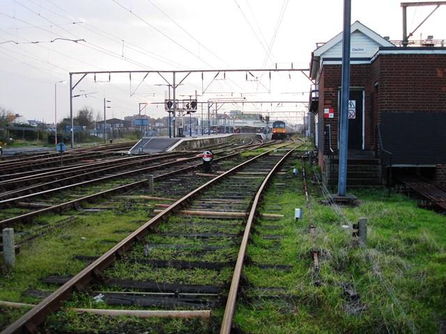 Clacton signal box train approaching