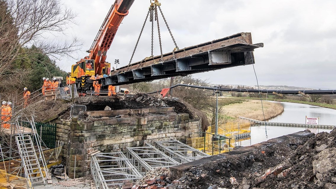 Passengers thanked as East Lancashire lines reopen after major nine-day upgrade: Old Oswaldtwistle bridge being removed