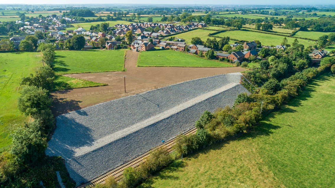 Drone footage shows picturesque rail route's protection from landslips: Drone shot showing the secured railway cutting at Cumwhinton