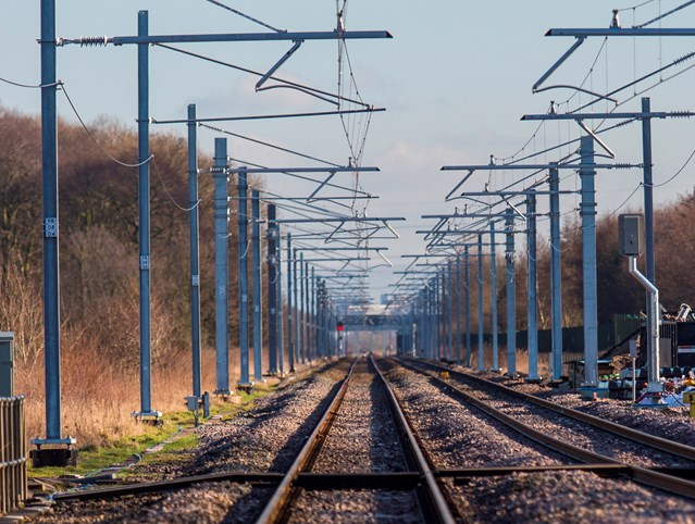 Trains between Preston and Blackpool South resume after successful first phase of major upgrade: Overhead power lines between Preston and Blackpool-2