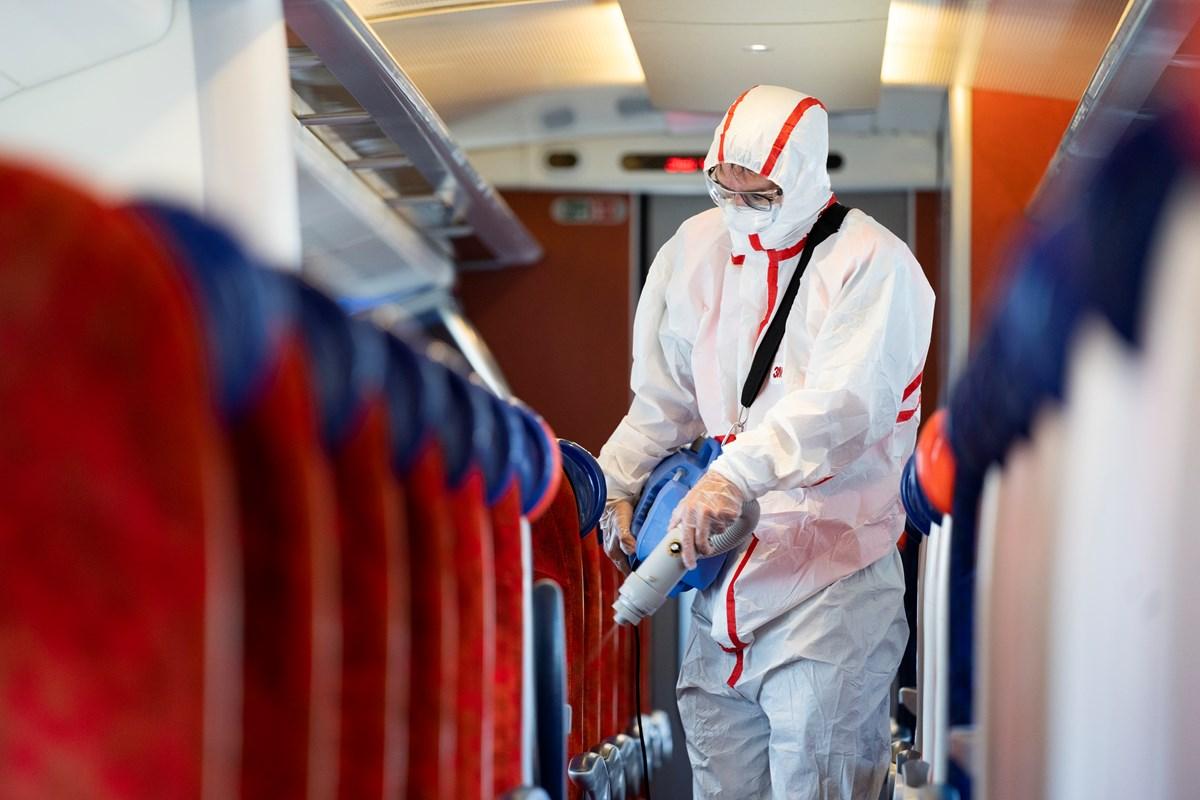 Sanitiser used on board an Avanti West Coast train: Credit: Avanti West Coast