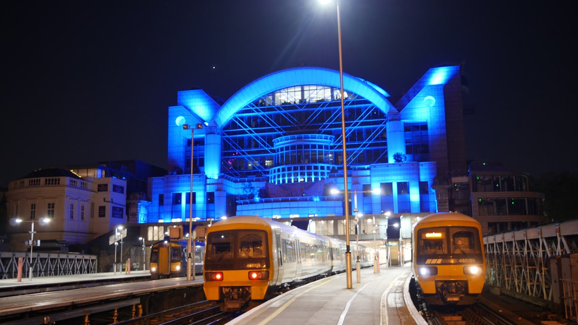 Network Rail stations to commemorate VE Day with voices and music from the past: Charing Cross - blue