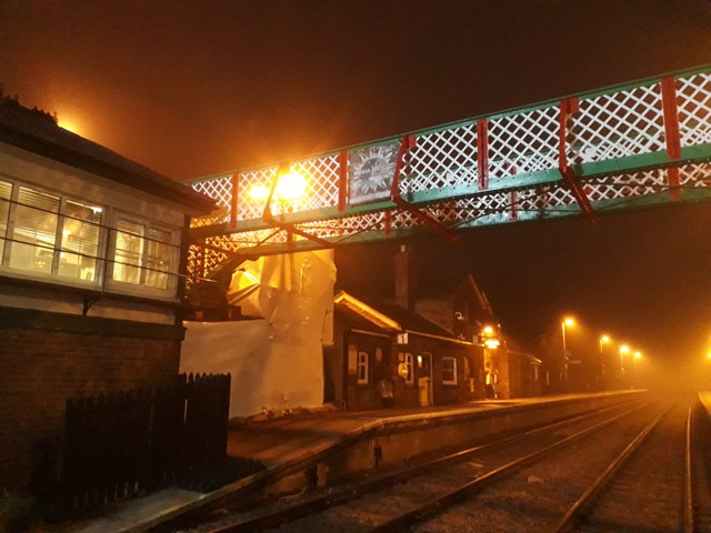Narborough station footbridge back in place