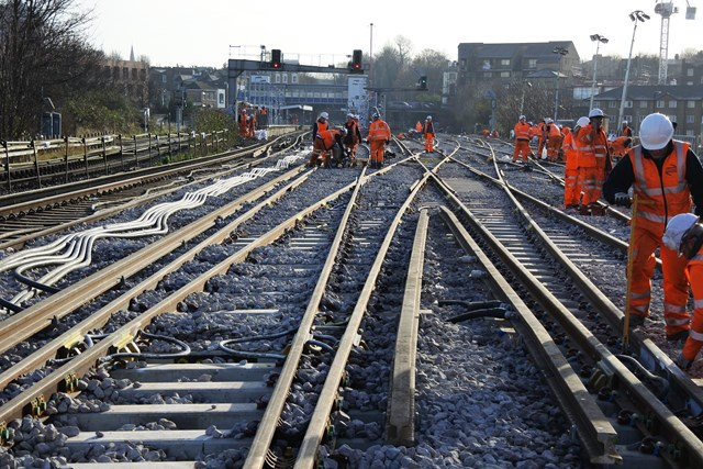 New Cross: A worn-out junction was replaced at New Cross over Christmas