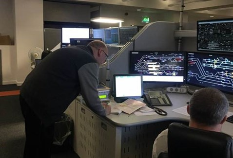 Graham Foster works on the project to move signalling control