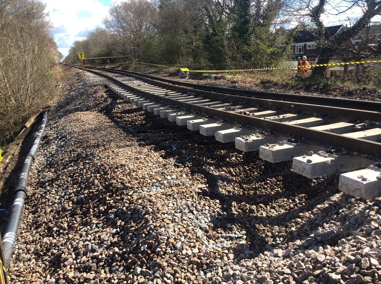 Passengers advised to check before they travel as train services between Farnham and Alton stay closed until early May following landslip: Wrecclesham Landslip 4