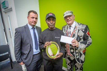 Last year's Caretaker of the year 2019 Francis Oduro, with Billy Wells, Head of Neighbourhood Services, and John Walters, Pearly King of Finsbury: (L-R Billy Wells Head of Neighbourhood Services Francis Oduro Estate Caretaker and John Walters Pearly King of Finsbury)