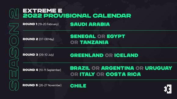 Extreme E revela el calendario provisional de la temporada 2