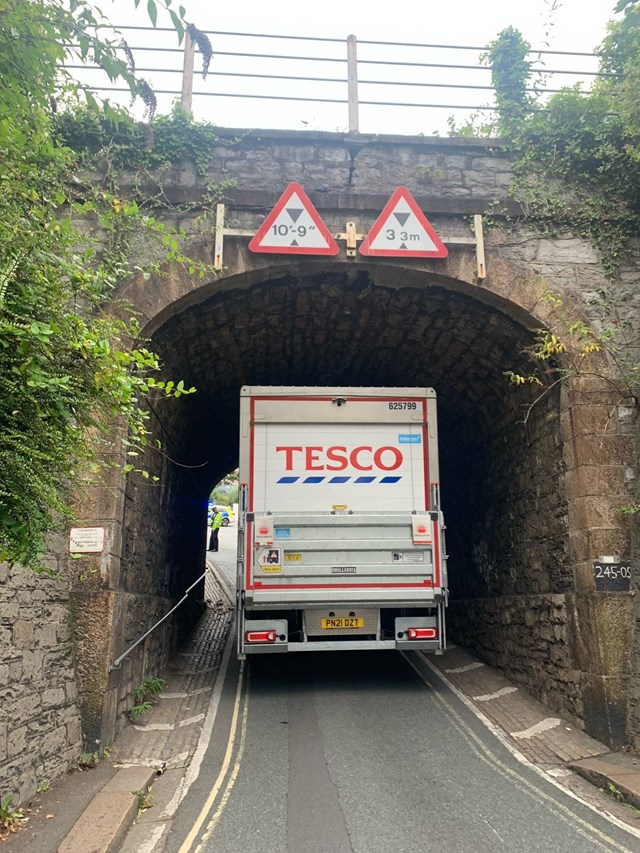 Plea for lorry drivers to take better care after bank holiday railway bridge bash continues to cause disruption: The lorry got stuck on Bank Holiday Monday