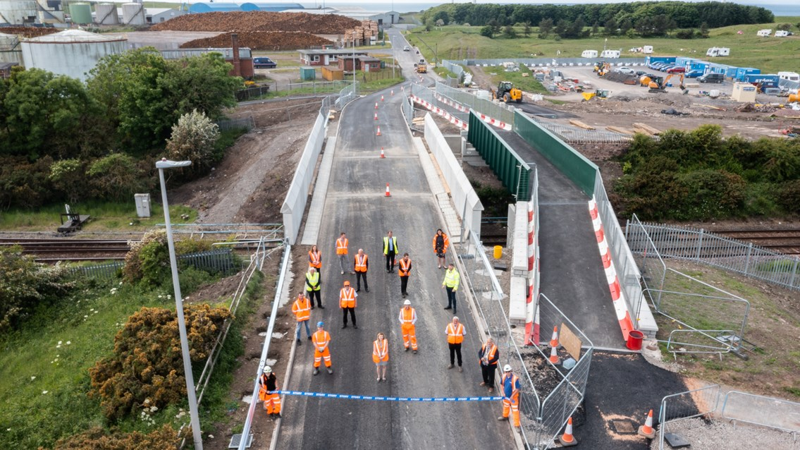 Siddick bridge opening drone shot June 2021
