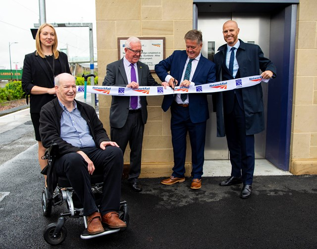 Stirling footbridge and lift opening: Robert Dick, from Stirling access panel, Network Rail project manager Jacqueline Lloyd, Bruce Crawford MSP and Keith Brown MSP, Kris Kinnear, capital delivery director Network Rail Scotland.