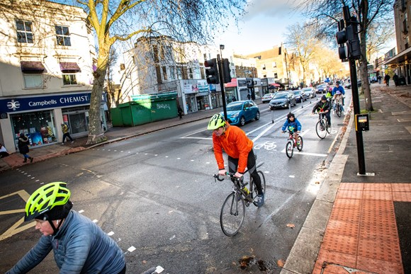 TfL Press Release - New data highlights success of trial Cycleway in Chiswickincluding improved road safety and air quality: TfL Image - Trial cycle lane along Chiswick High Road