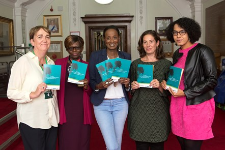 National campaigner Leyla Hussein helps launch Islington's new guide to tackling FGM: Launch of FGM Risk Assessment Tool (L-R) - Catherine Briody, Islington Council's Head of Youth and Community Services; Joy Clarke, FGM specialist midwife and campaigner; Leyla Hussein; Rosalind Jerram, Manor Gardens Welfare Trust FGM Programme Manager: Cllr Kaya Comer-Schwartz, Islington Council's executive member for community development