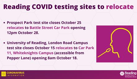 Reading COVID test centres relocate