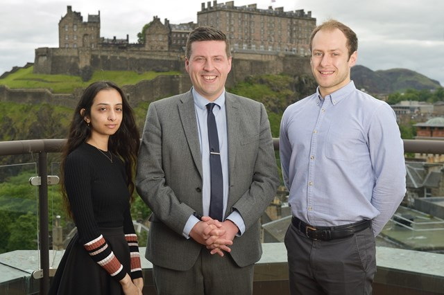 Minister with current apprentices – IT technician Aneesah Sher and Financial Services apprentice Harry Pettit