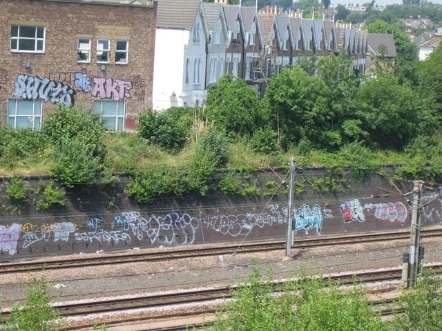 Finsbury Park Graffitt - before: ECML at Finsbury Park before clean up