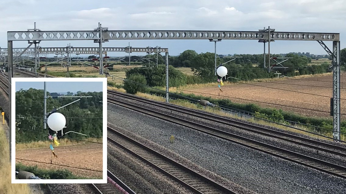 Helium balloon halts trains on West Coast main line in Tamworth: Balloon on overhead electric lines at Tamworth composite
