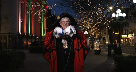 The Mayor of Islington switches on the Christmas lights at Islington Town Hall