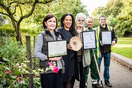 Islington green fingers win Gold at London in Bloom awards: Clare Carolan (Duncan Terrace Gardens Friends), Cllr Claudia Webbe (Executive Member for Environment & Transport), Joy Chamberlin (Islington Gardeners), Frank Peters and Andrew Hillier (Islington Council Parks Team) celebrate Islington's success in the London in Bloom awards