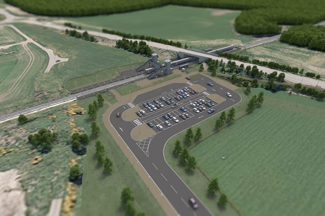 Inverness Airport Station build is underway: New Inverness Airport view from North - 150005-BNU-PHO-ECV-001002-P01