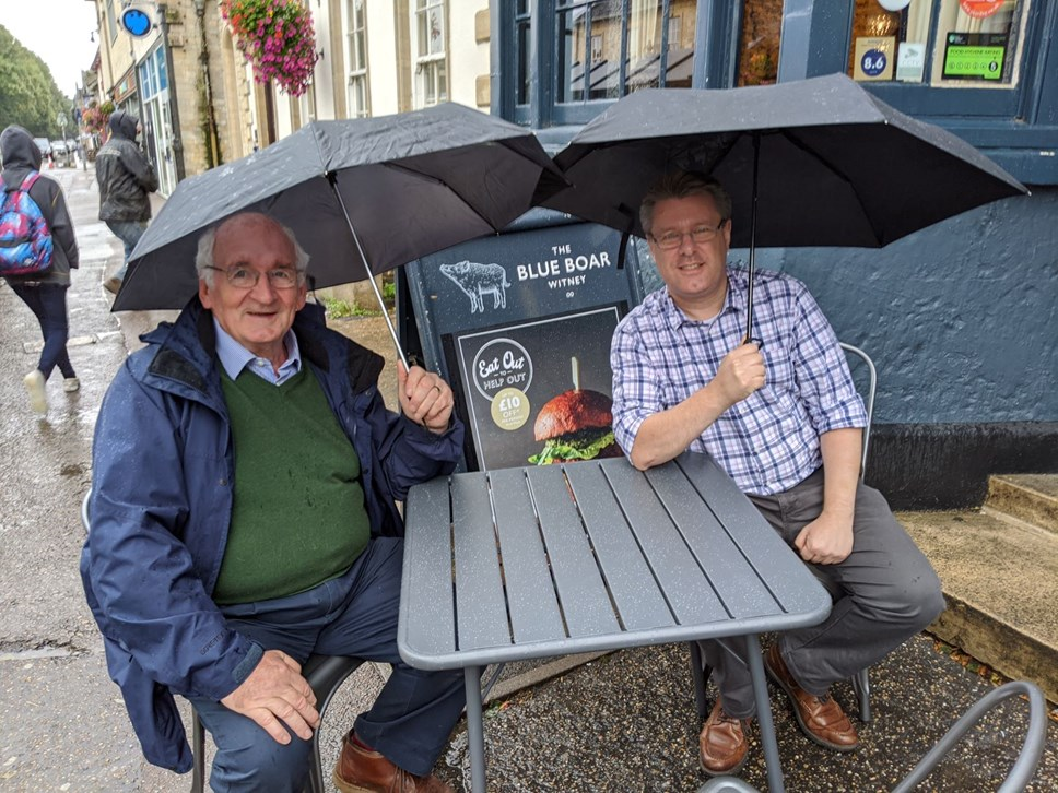 Businesses sign up for smoke-free pavement licences: Cllr Norman MacRae and Phil Henstridge