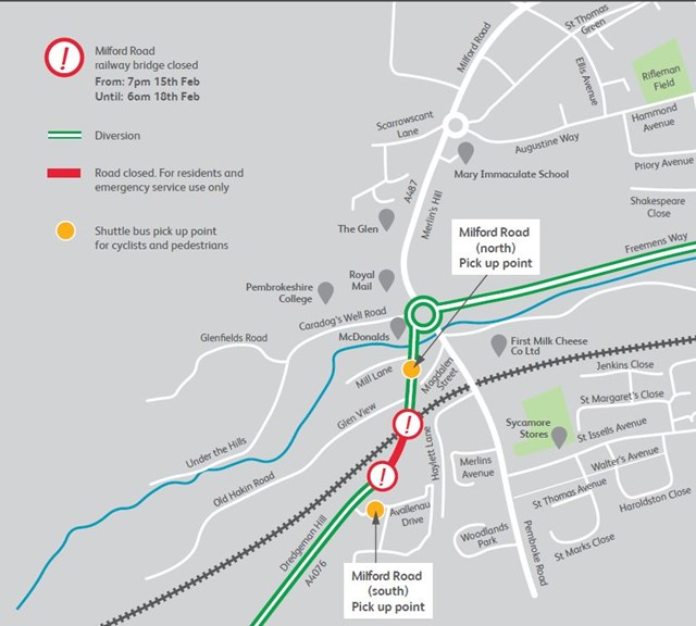 Milford Road Bridge Diversion Map