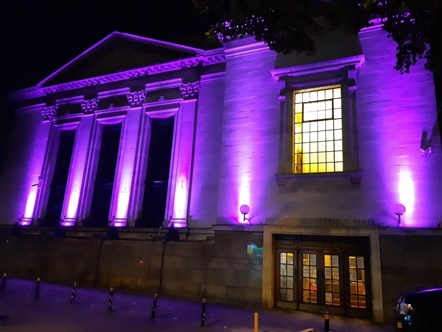 Islington Assembly Hall lit in purple June 2-3 2020 - pic 2: Picture: Islington Council