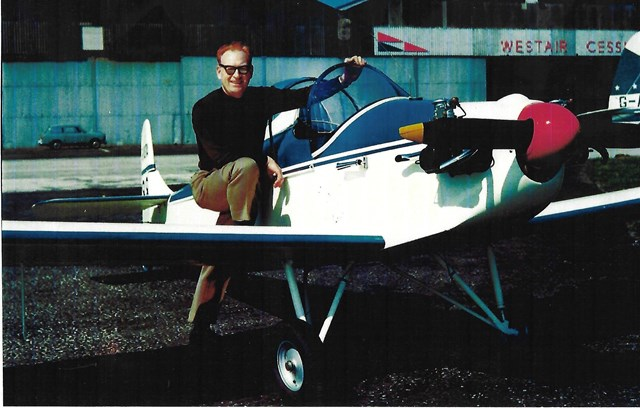 Ernest with his first plane circa 1970