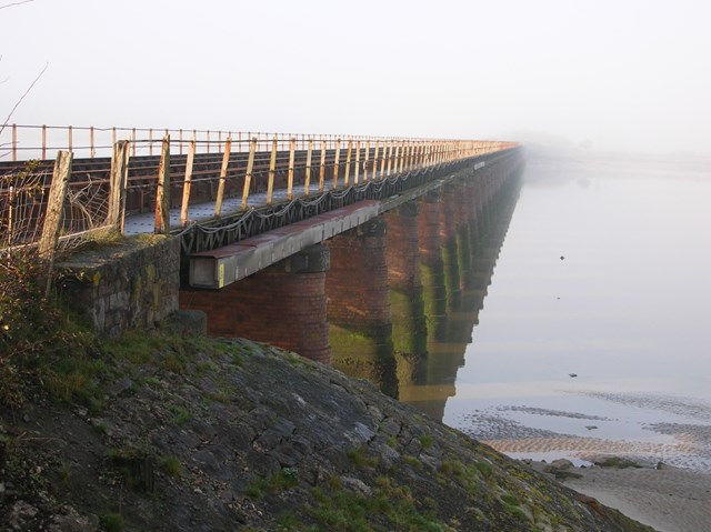 Leven viaduct before refurbishment: Picture of Leven viaduct before the £14 million of refurbishment was carried out.