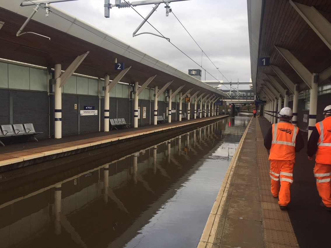 South Yorkshire rail passengers advised to check before travelling on Monday 11 November as flood-hit network continues recovery: At Rotherham Central the water almost reached platform level over the weekend