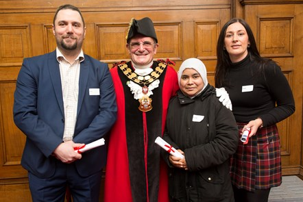 Daryl Wilde, Mayor of Islington Dave Poyser, Nahdia Begum and Cheryl Vaughan: Adult and Community Learning Awards 2018