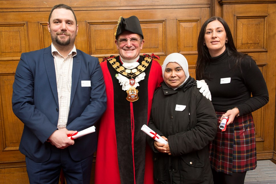 Night of success for Islington's adult learners: Daryl Wilde, Mayor of Islington Dave Poyser, Nahdia Begum and Cheryl Vaughan