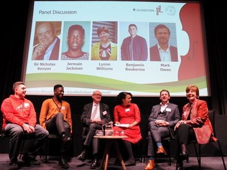 Music Education Islington launch event 3: Panel discussion chaired by Cllr Kaya Comer-Schwartz (third from right)