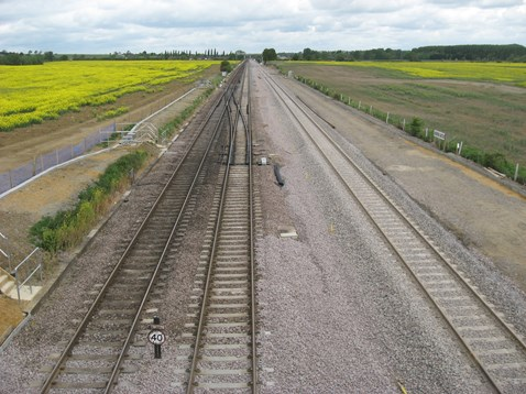 The completed new line between Kettering to Harrowden junctions