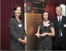 Arriva highly commended for its commitment to equality: Clara Freeman, chairman of Opportunity now, Arriva's Julie Allan and Jamie Whiteman