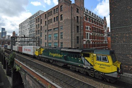 Freight train at Manchester Oxford Road