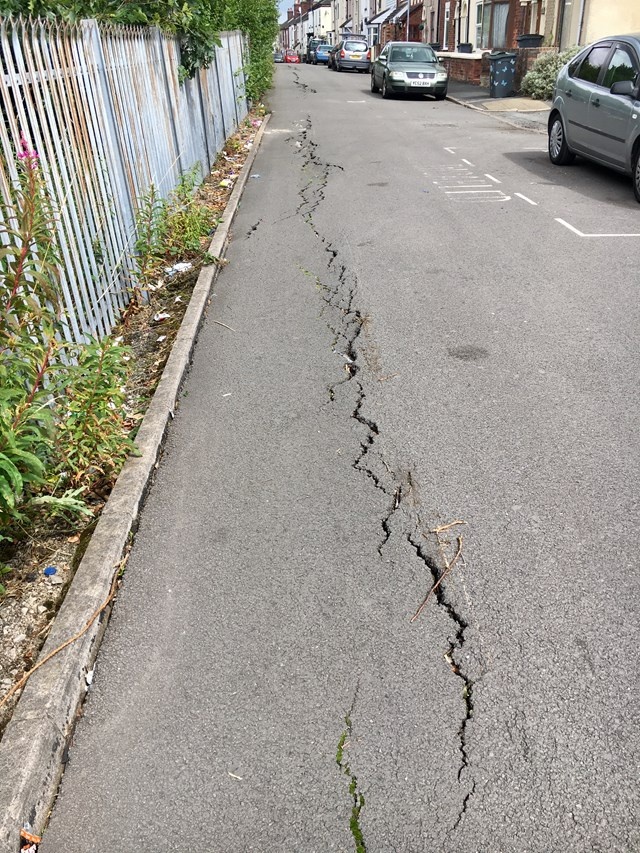 Ground movement caused West Parade to crack in 2018