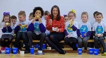 Eat Better Feel Better: To celebrate the launch of Scottish Government's Eat Better Feel Better campaign, Minister for Public Health and Sport, Aileen Campbell joined Scottish sports stars, Ex-Hibs footballer, John (Yogi) Hughes, Scotland Rugby 7s captain, Scott Riddell and founder of Gold & Gray Soccer Academy, Ross Gray at Castleview Primary School this morning.   The pupils enjoyed an extra-special morning break and the chance to have fun in the snow and play football and rugby with the sports stars, before tucking into some healthy 'Snack Heroes'. Snack Heroes are quick and easy affordable snacks that can help fuel success.