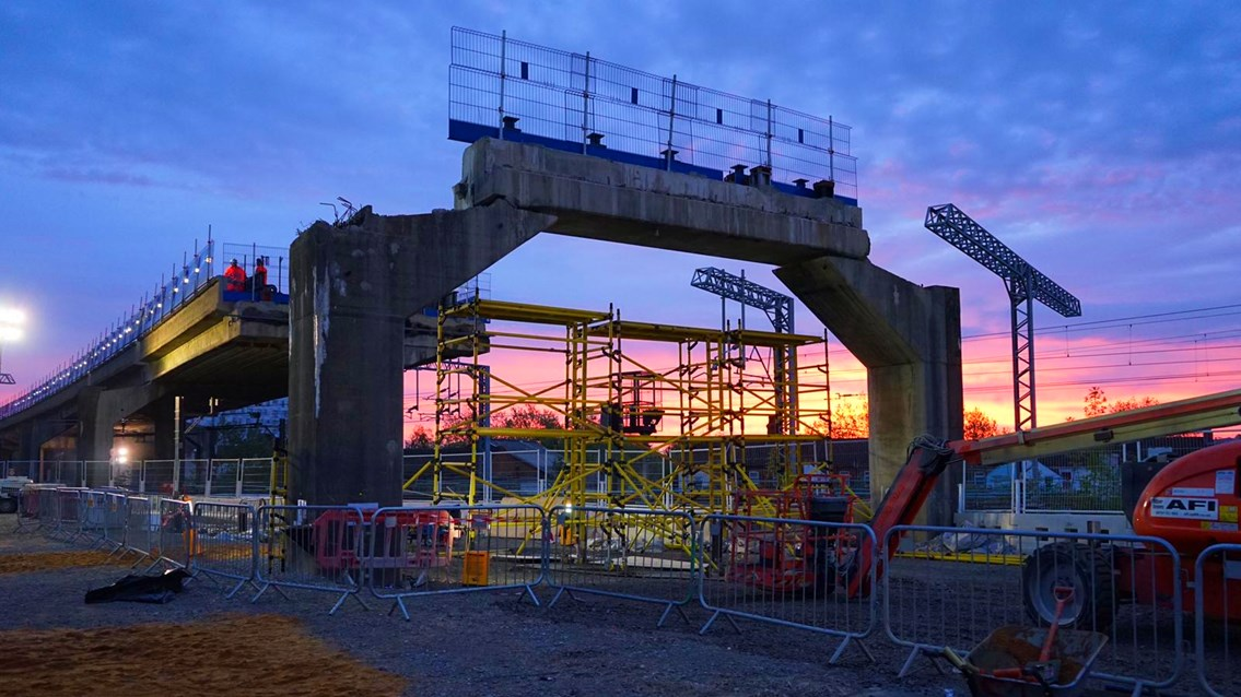 Next phase of railway flyover demolition involves three of the UK's largest cranes: Bletchley Flyover sunset May 2020 (1)