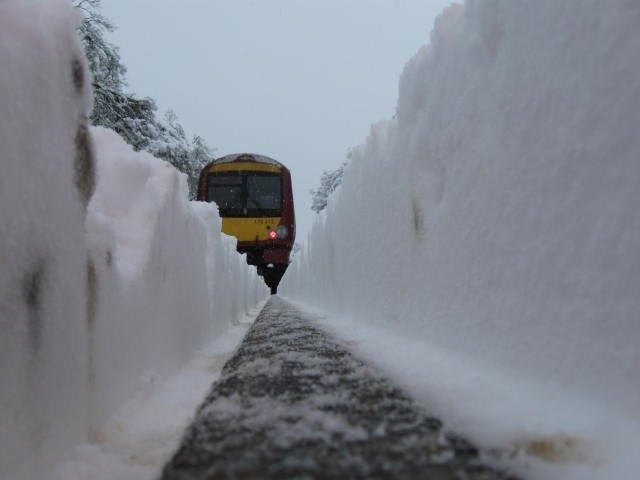 Snow covered railway - rail head