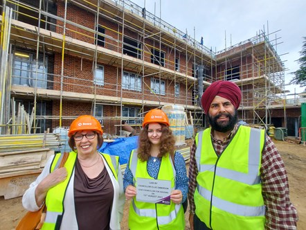 Ward councillors Jenny Rynn (left) and Daya Pal Singh (right) with Lead Councillor for Housing Ellie Emberson at the Lyndhurst Road flats