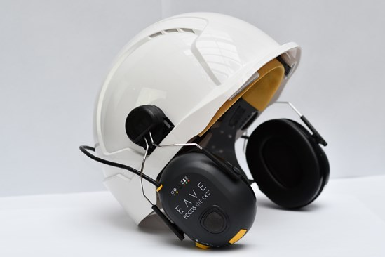EAVE Helmet Mounted Headset April 2020: Credit: EAVE HS2 has trialed smart headsets that protect workers from hearing damage. Euston site contractor CSjv has tested the  Eave headset. It analyses noise data to allow a targeted approach to protecting all workers' hearing across a site.