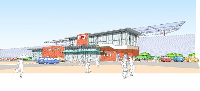 Rugby Station Redevelopment: Artists impression of the proposed new entrance to Rugby station.  Work starts on 13 September 2006 and is expected to be complete by Spring 2007
