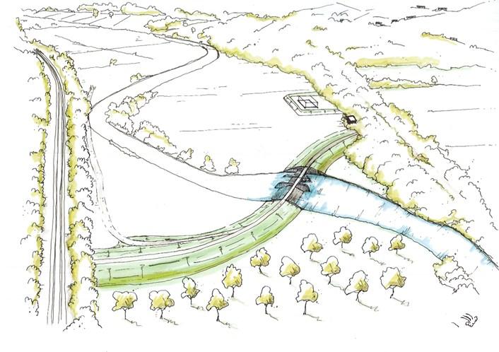 Initial sketches released of how Leeds flood scheme phase 2 could look: calverleyflowcontrolstorageareasketch.jpg