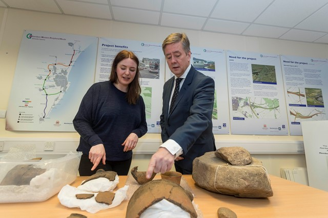 Archaeologists unearth amazing finds on Aberdeen bypass: Julie Lochrie Headland Archaeology Finds Specialist and Cab Sec Keith Brown ii