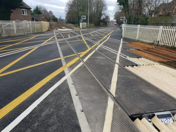 Strail panels at Nantwich level crossing