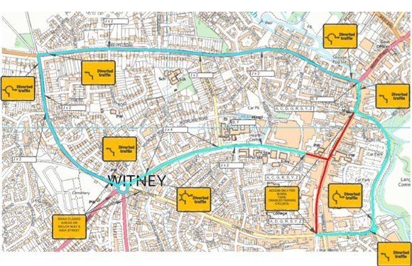 Traffic restrictions introduced in Witney to boost social distancing: Witney town centre modified map