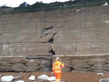 Damage to the sea wall at Dover, Kent-3
