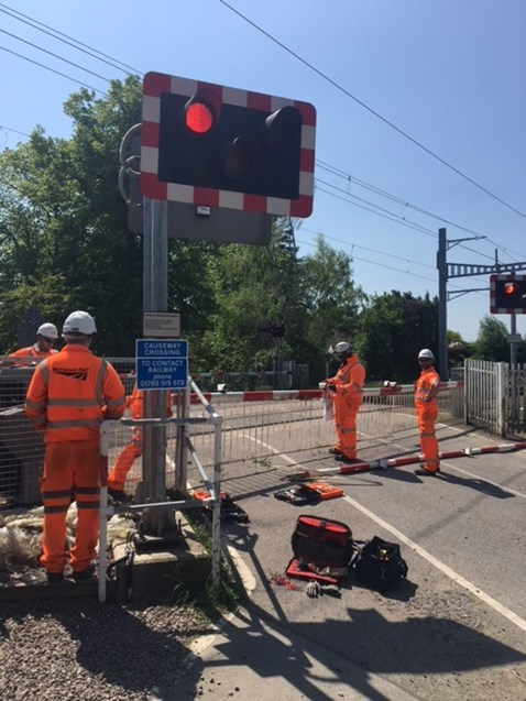 Engineers at a level crossing