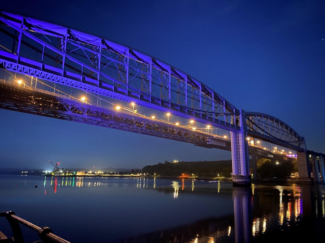 The Royal Albert Bridge was turned blue at 8pm
